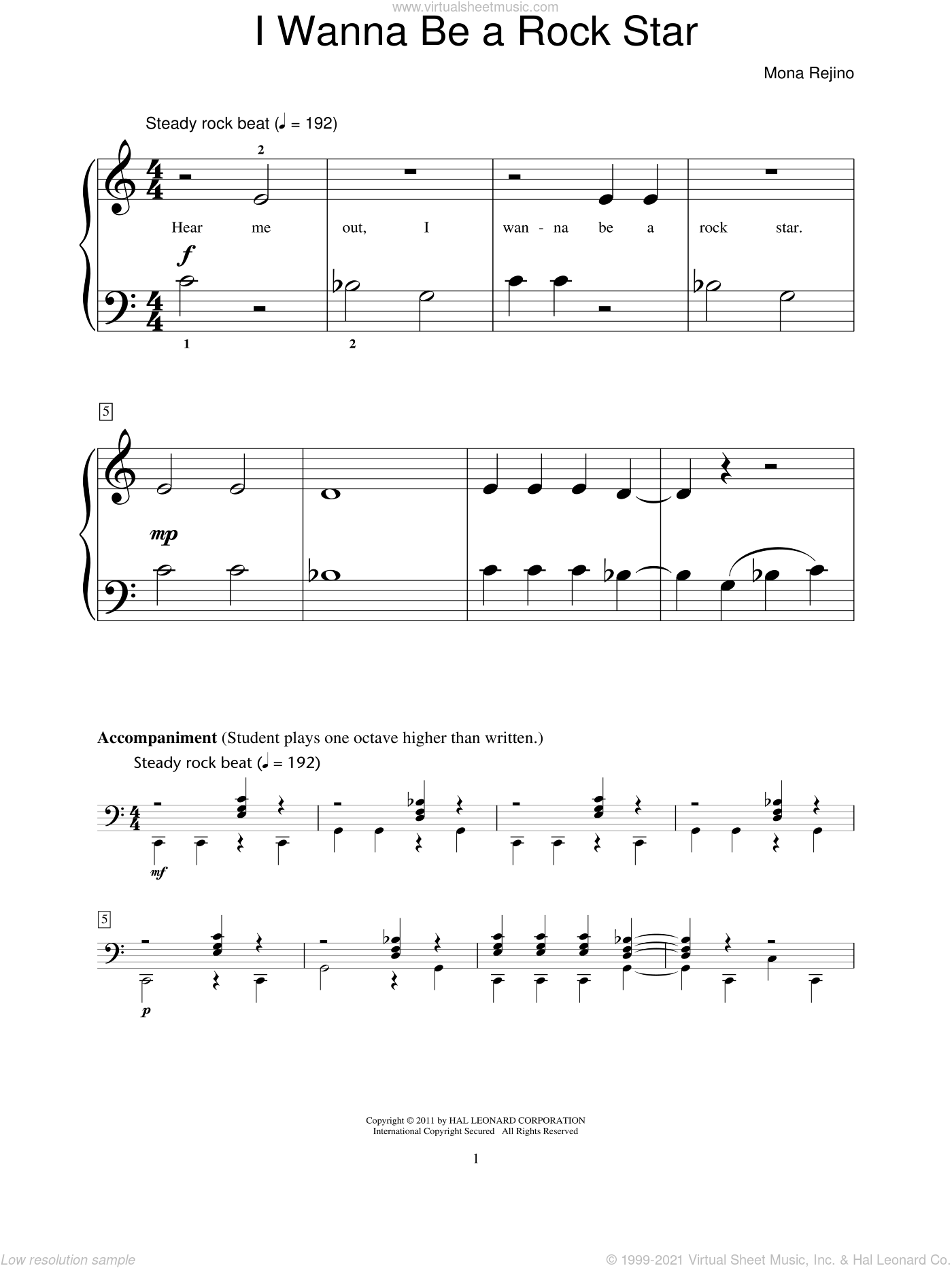 I Wanna Be A Rock Star sheet music for piano solo (elementary) by Mona Rejino