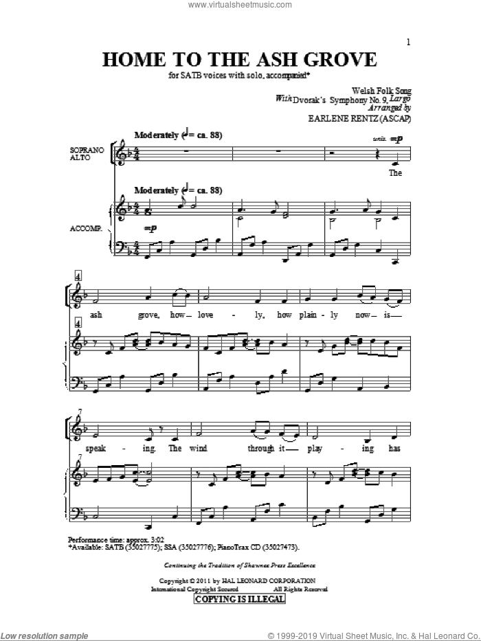 Home To The Ash Grove sheet music for choir and piano (SATB) by Earlene Rentz