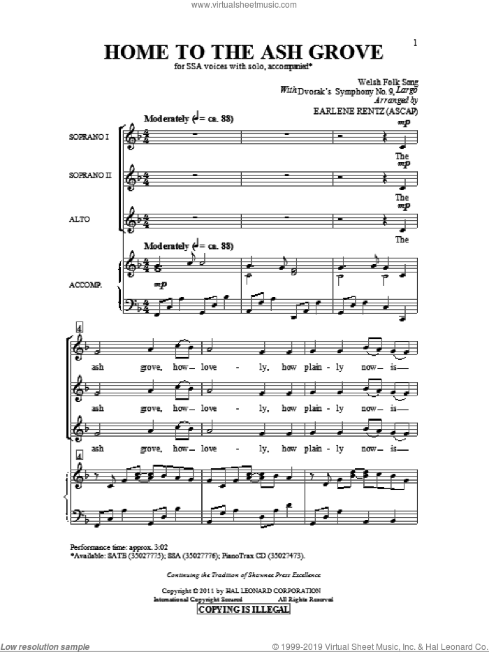 Home To The Ash Grove sheet music for choir and piano (SSA) by Earlene Rentz