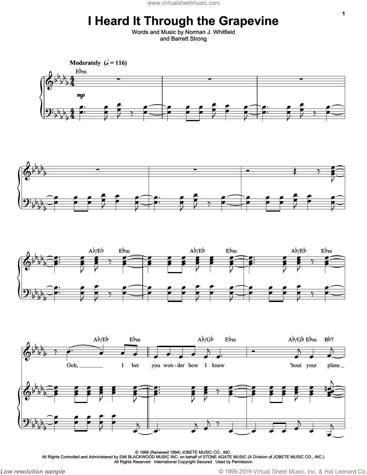 I Heard It Through The Grapevine sheet music for voice and piano by Norman Whitfield