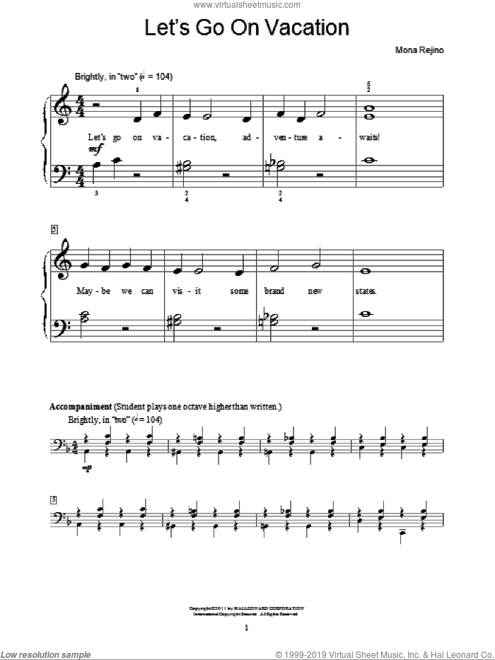 Let's Go On Vacation sheet music for piano solo (elementary) by Mona Rejino