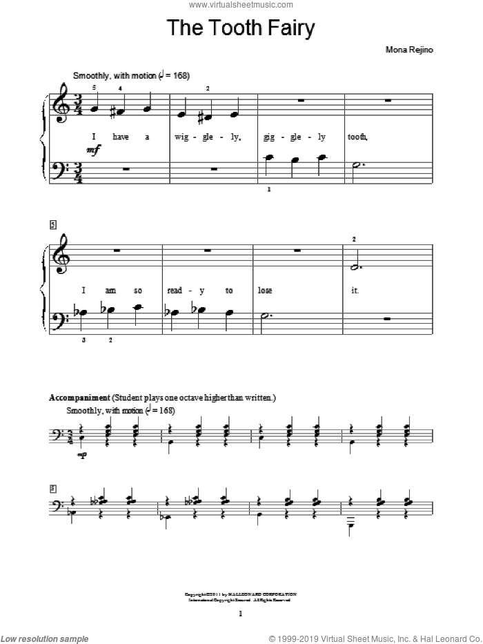 The Tooth Fairy sheet music for piano solo (elementary) by Mona Rejino and Miscellaneous, beginner piano (elementary)