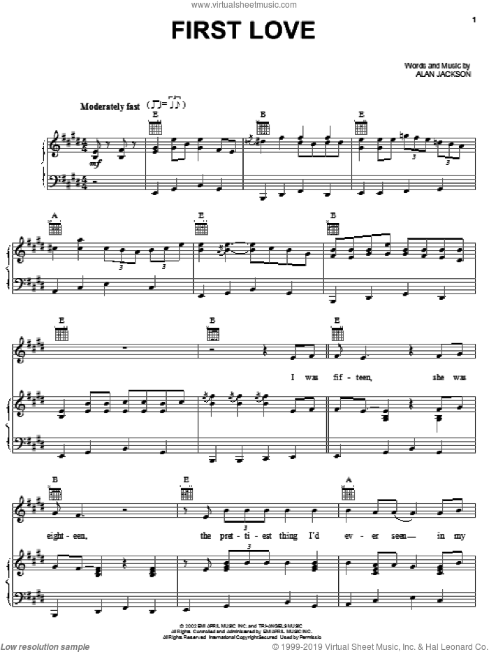 First Love sheet music for voice, piano or guitar by Alan Jackson, intermediate skill level