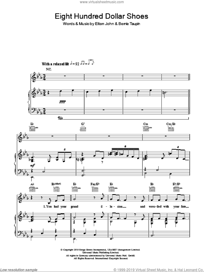 Eight Hundred Dollar Shoes sheet music for voice, piano or guitar by Elton John and Bernie Taupin. Score Image Preview.