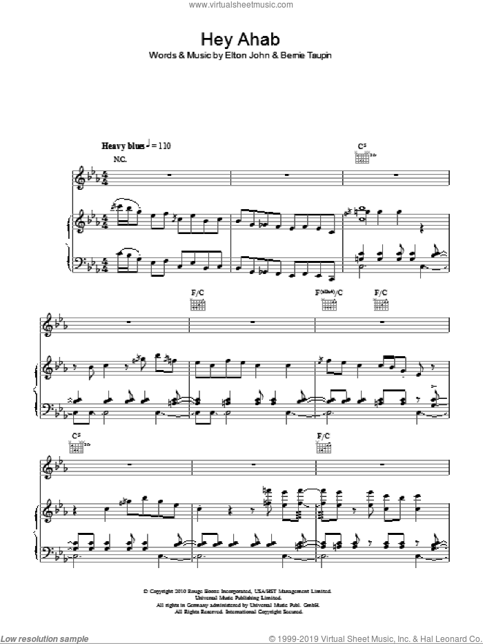 Hey Ahab sheet music for voice, piano or guitar by Elton John