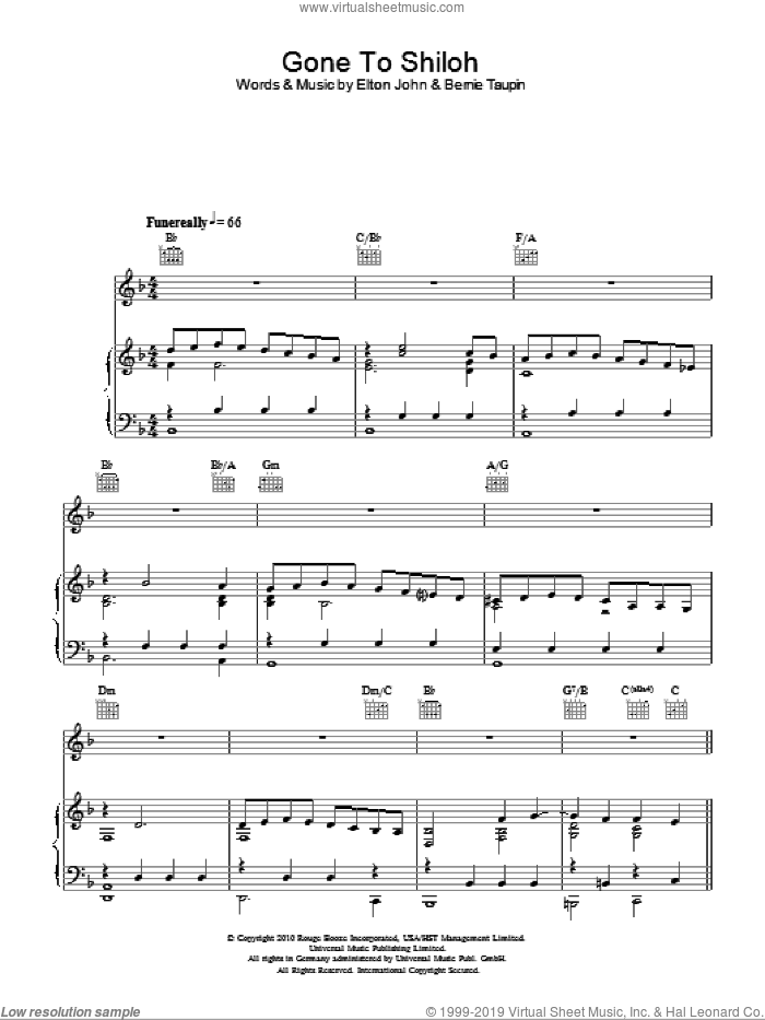 Gone To Shiloh sheet music for voice, piano or guitar by Elton John and Bernie Taupin, intermediate. Score Image Preview.