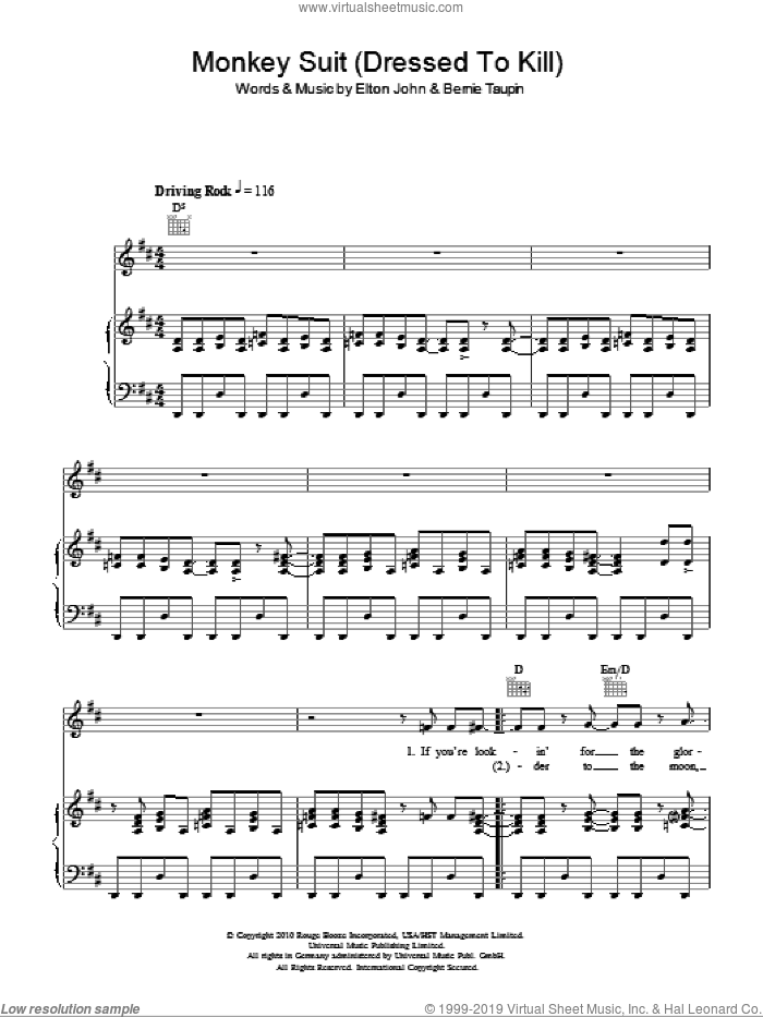 Monkey Suit sheet music for voice, piano or guitar by Elton John, Leon Russell and Bernie Taupin. Score Image Preview.
