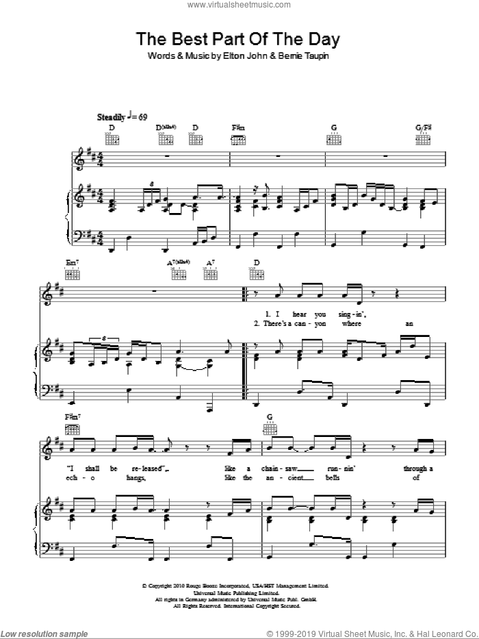 The Best Part Of The Day sheet music for voice, piano or guitar by Elton John, Leon Russell and Bernie Taupin, intermediate skill level