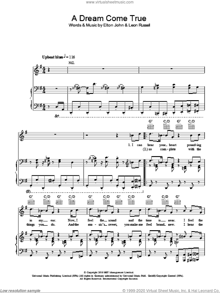 A Dream Come True sheet music for voice, piano or guitar by Elton John and Leon Russell. Score Image Preview.