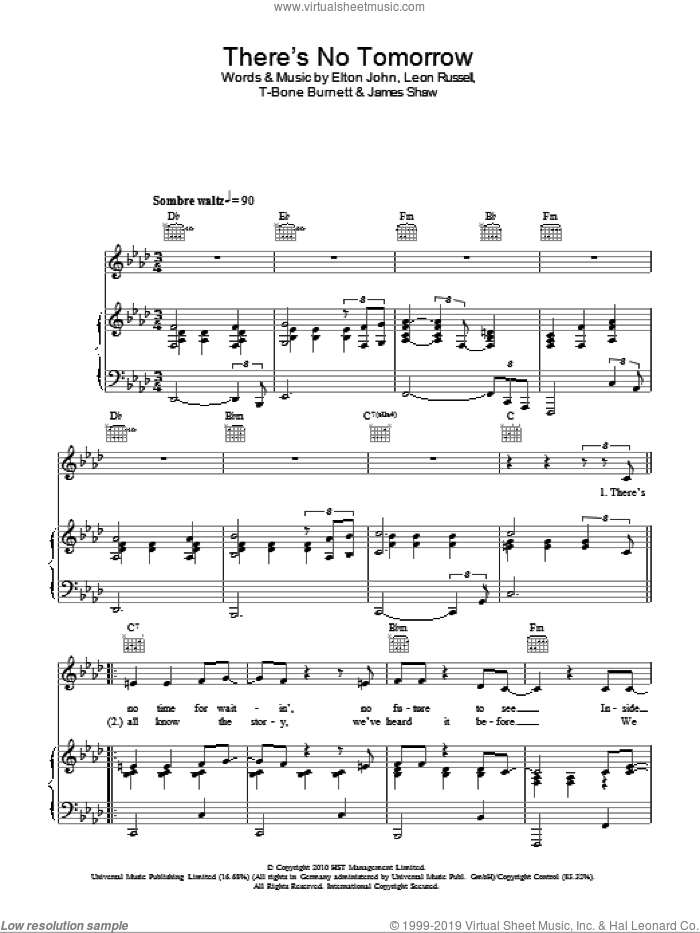 There's No Tomorrow sheet music for voice, piano or guitar by Elton John, James Shaw and Leon Russell, intermediate voice, piano or guitar. Score Image Preview.