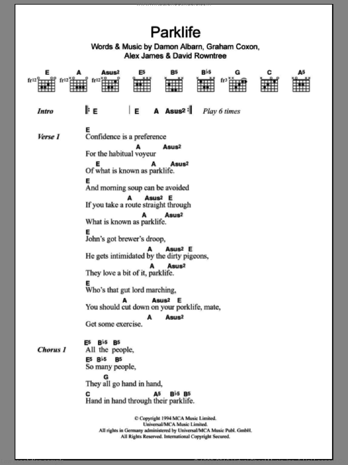 Parklife sheet music for guitar (chords) by Blur, Alex James, Damon Albarn, David Rowntree and Graham Coxon, intermediate. Score Image Preview.