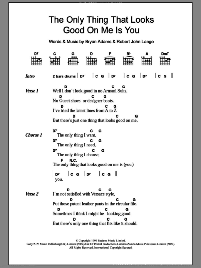 The Only Thing That Looks Good On Me Is You sheet music for guitar (chords) by Bryan Adams and Robert John Lange, intermediate skill level