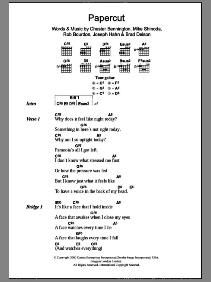 Papercut sheet music for guitar (chords) by Linkin Park. Score Image Preview.