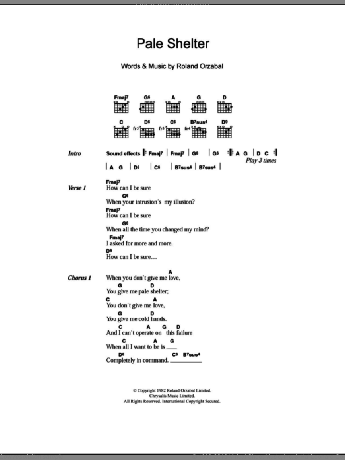 Pale Shelter sheet music for guitar (chords, lyrics, melody) by Roland Orzabal