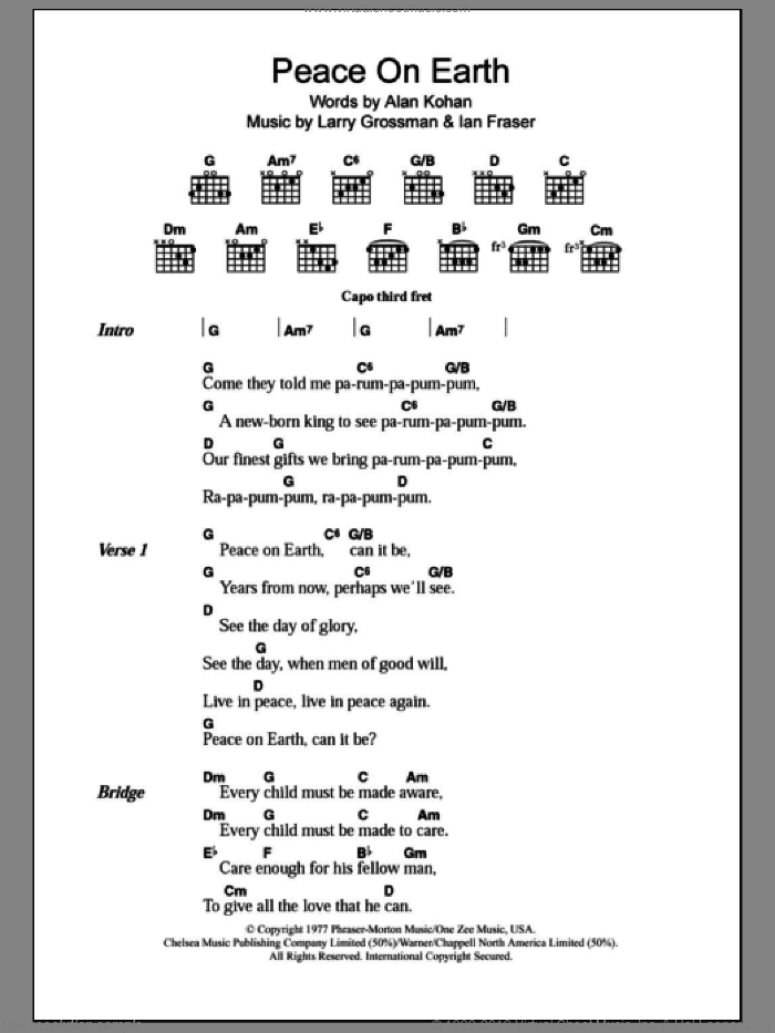 Peace On Earth sheet music for guitar (chords) by David Bowie, Alan Kohan, Ian Fraser and Larry Grossman, intermediate. Score Image Preview.