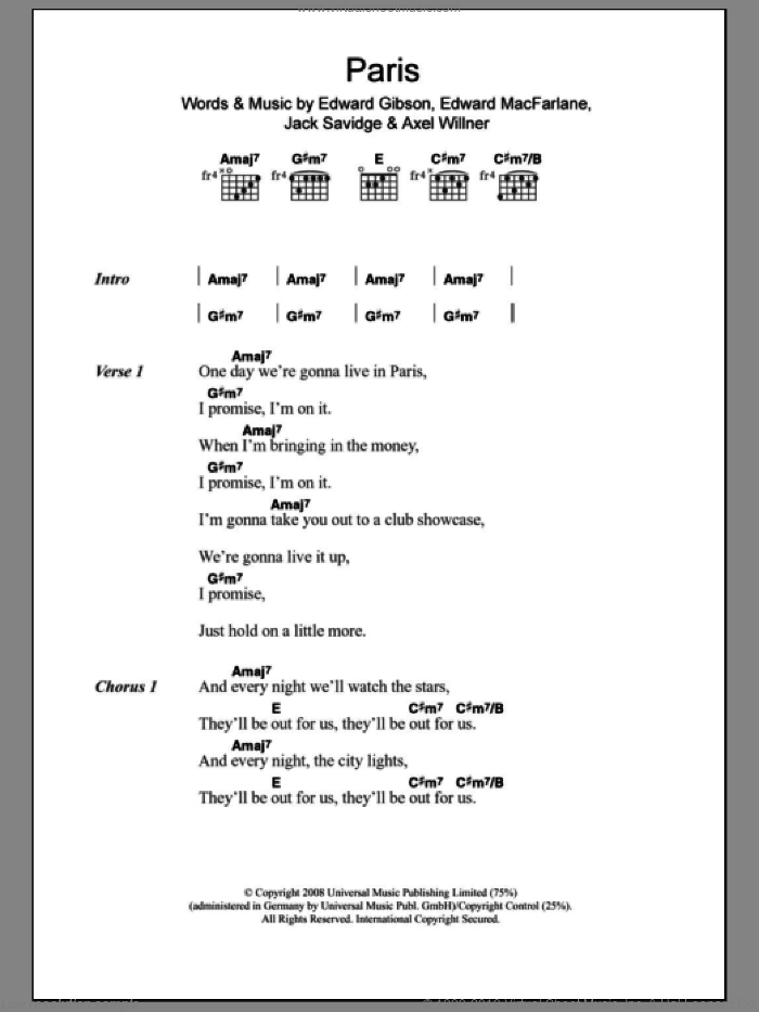 Paris sheet music for guitar (chords) by Friendly Fires, Axel Willner, Edward Gibson, Edward MacFarlane and Jack Savidge, intermediate skill level