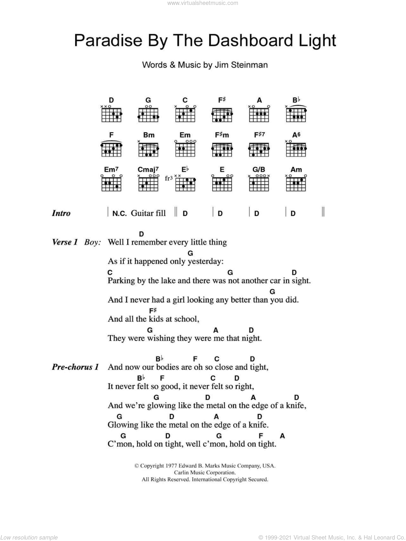 Paradise By The Dashboard Light sheet music for guitar (chords) by Jim Steinman. Score Image Preview.