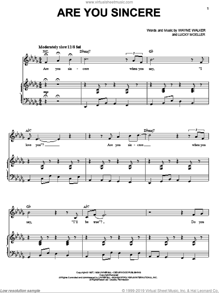 Are You Sincere sheet music for voice and piano by Wayne Walker