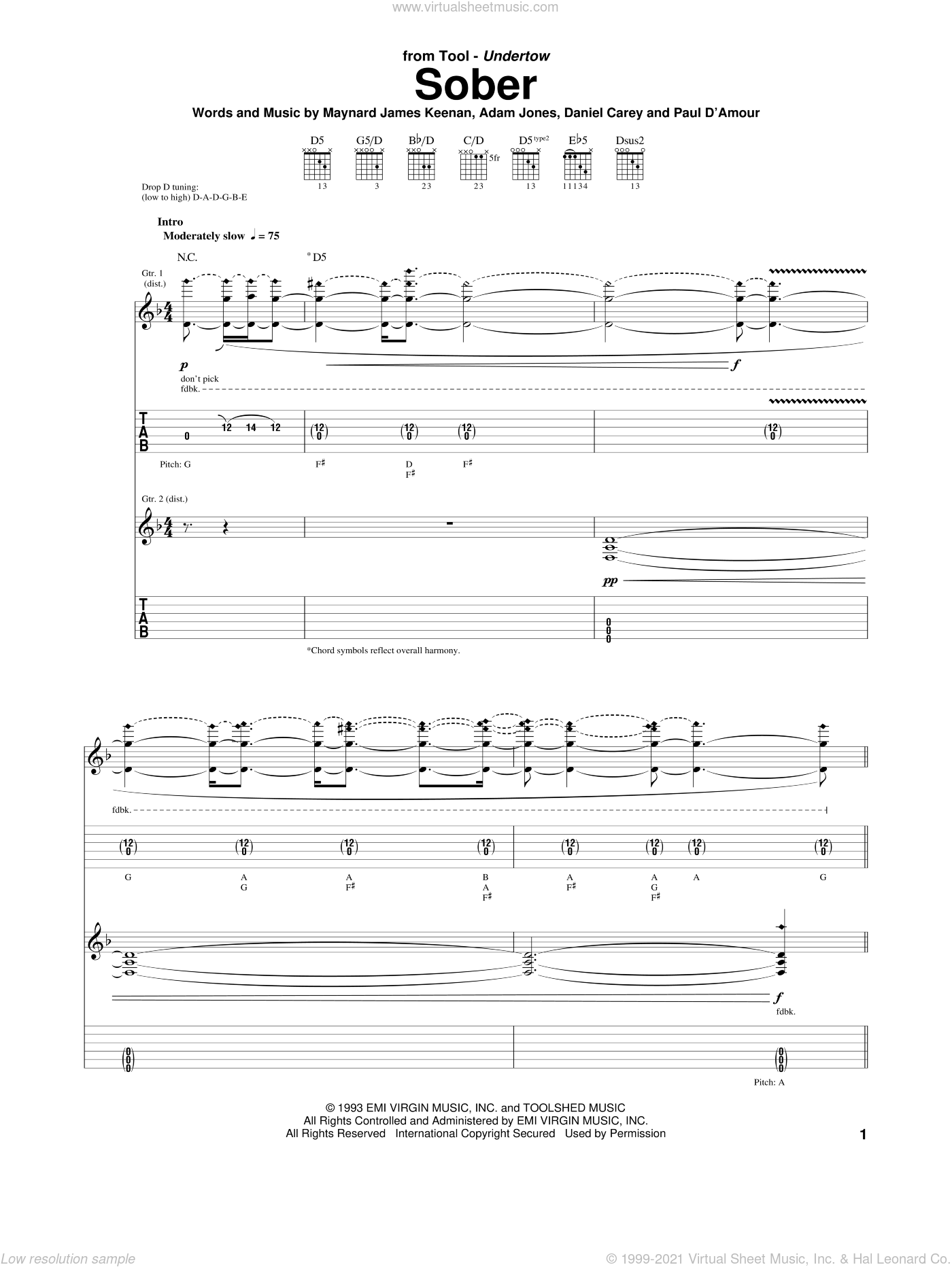 Sober sheet music for guitar (tablature) by Maynard James Keenan and Tool. Score Image Preview.