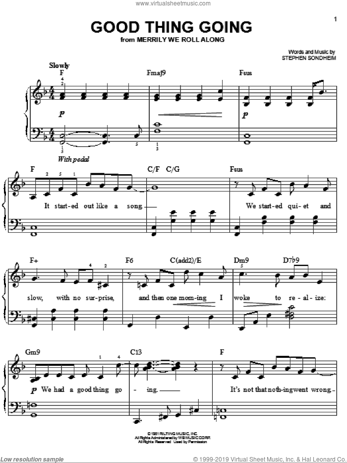 Good Thing Going sheet music for piano solo by Stephen Sondheim, easy piano. Score Image Preview.
