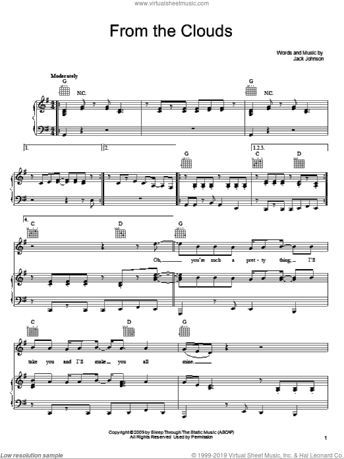 From The Clouds sheet music for voice, piano or guitar by Jack Johnson, intermediate skill level