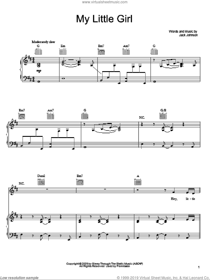 My Little Girl sheet music for voice, piano or guitar by Jack Johnson, intermediate