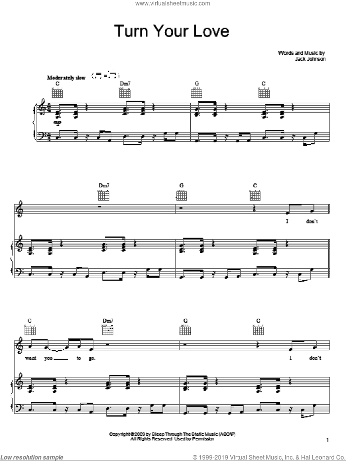 Turn Your Love sheet music for voice, piano or guitar by Jack Johnson, intermediate. Score Image Preview.