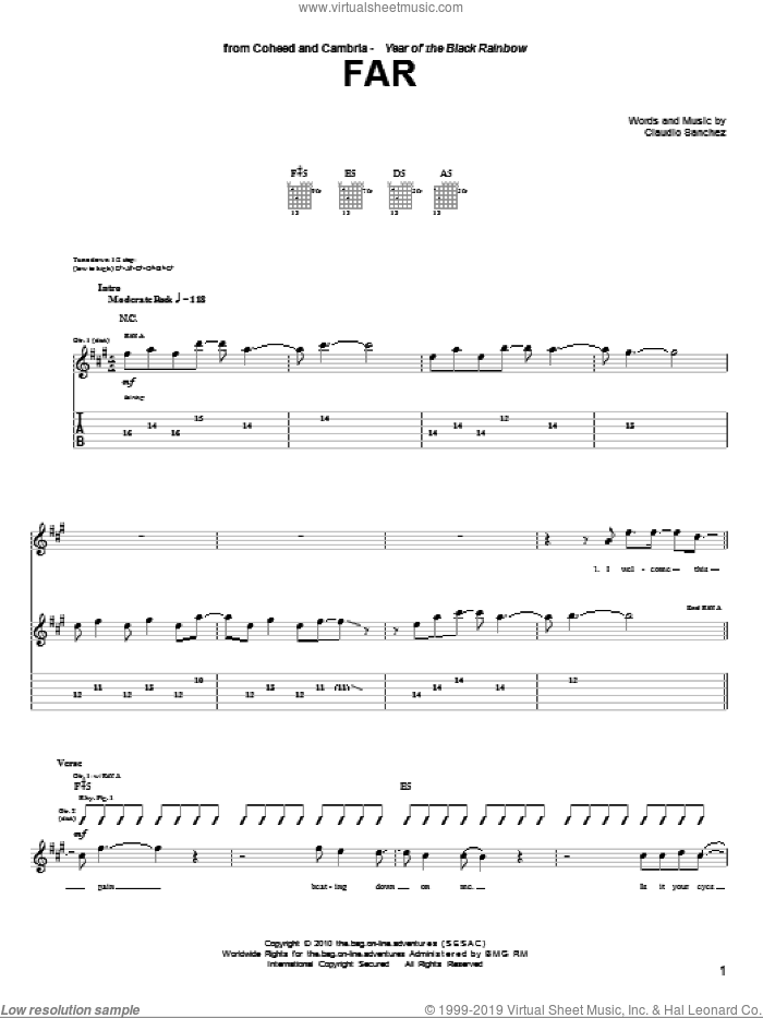 Far sheet music for guitar (tablature) by Coheed And Cambria and Claudio Sanchez, intermediate skill level