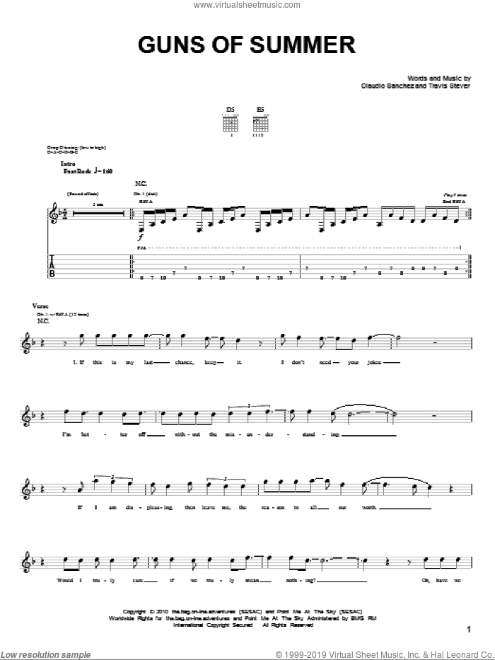 Guns Of Summer sheet music for guitar (tablature) by Travis Stever and Claudio Sanchez. Score Image Preview.