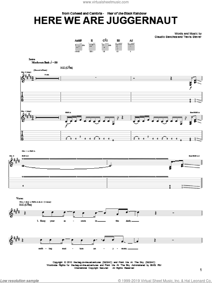Here We Are Juggernaut sheet music for guitar (tablature) by Travis Stever and Claudio Sanchez. Score Image Preview.
