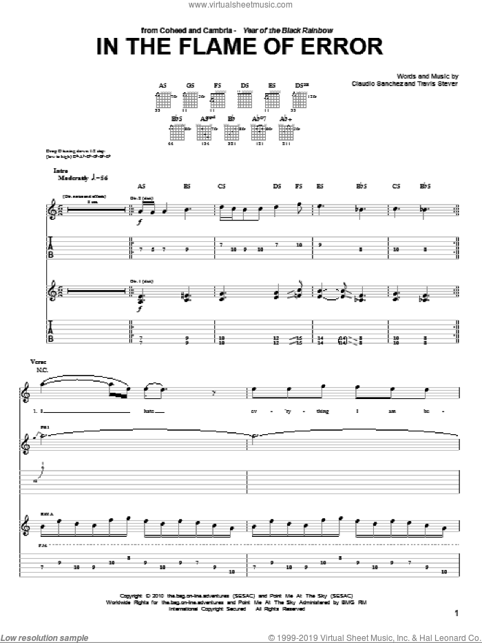 In The Flame Of Error sheet music for guitar (tablature) by Coheed And Cambria