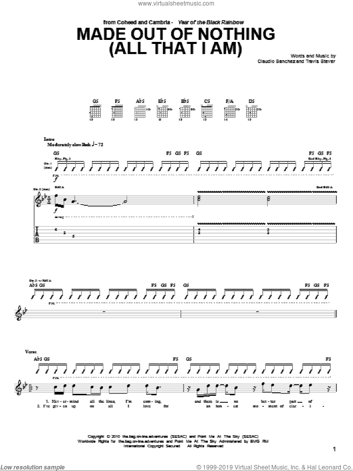 Made Out Of Nothing (All That I Am) sheet music for guitar (tablature) by Travis Stever and Claudio Sanchez. Score Image Preview.