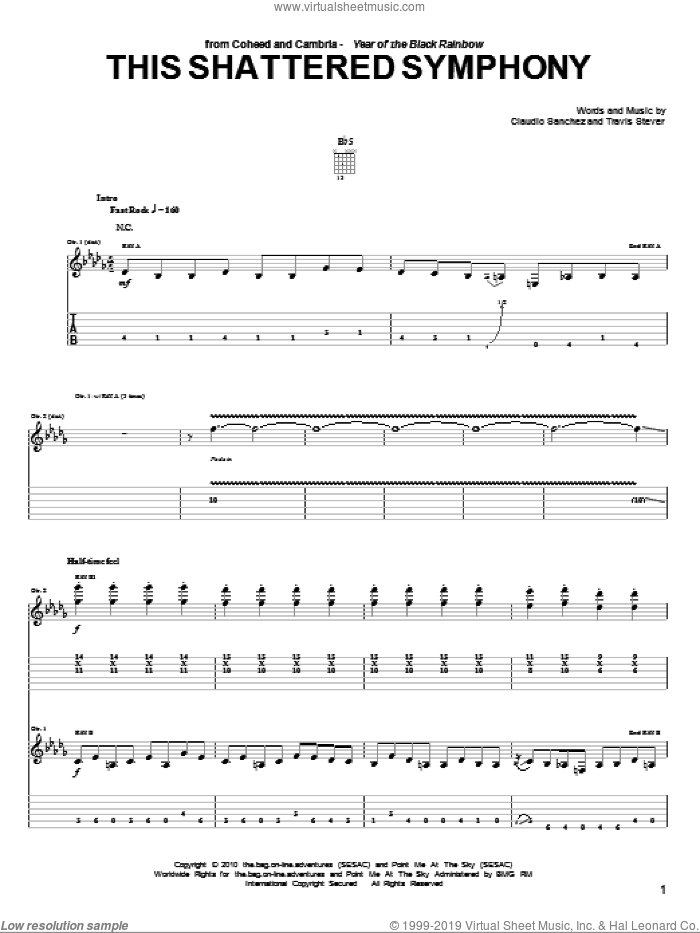 This Shattered Symphony sheet music for guitar (tablature) by Coheed And Cambria. Score Image Preview.