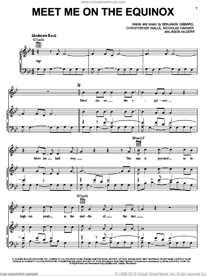 Meet Me On The Equinox sheet music for voice, piano or guitar by Death Cab For Cutie, Benjamin Gibbard, Christopher Walla, Jason McGerr and Nicholas Harmer, intermediate skill level