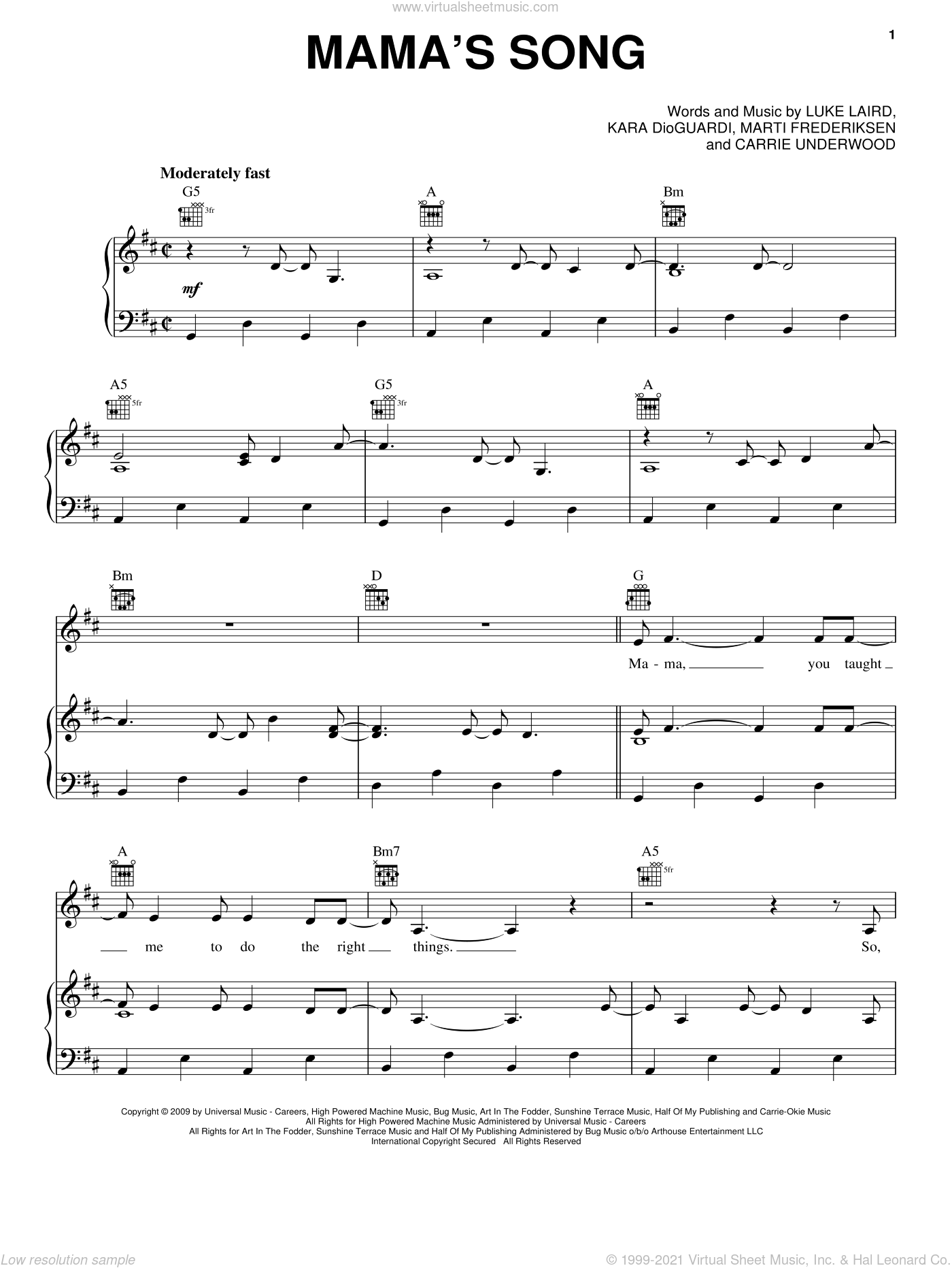 Mama's Song sheet music for voice, piano or guitar by Marti Frederiksen, Carrie Underwood, Kara DioGuardi and Luke Laird. Score Image Preview.