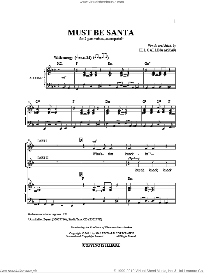Must Be Santa sheet music for choir (duets) by Jill Gallina. Score Image Preview.