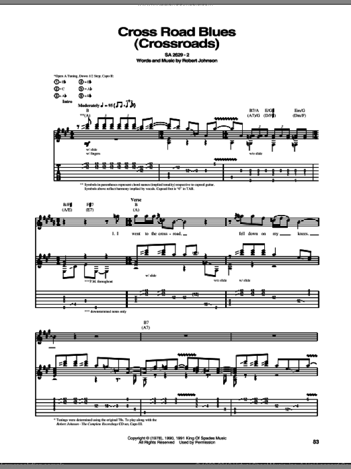Cross Road Blues (Crossroads) sheet music for guitar (tablature) by Robert Johnson, intermediate guitar (tablature). Score Image Preview.