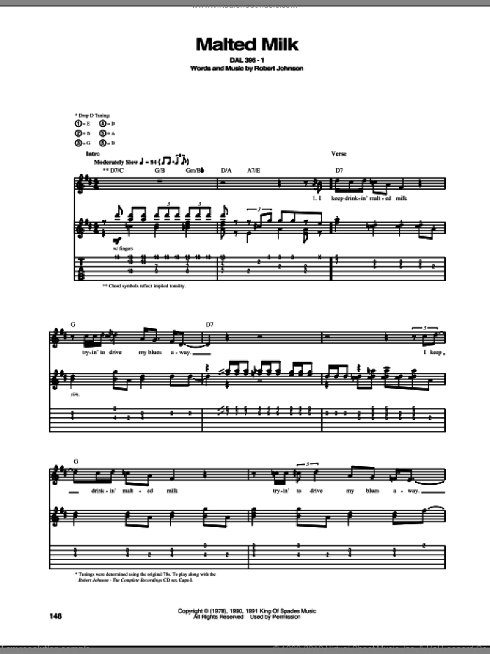 Malted Milk sheet music for guitar (tablature) by Robert Johnson, intermediate. Score Image Preview.