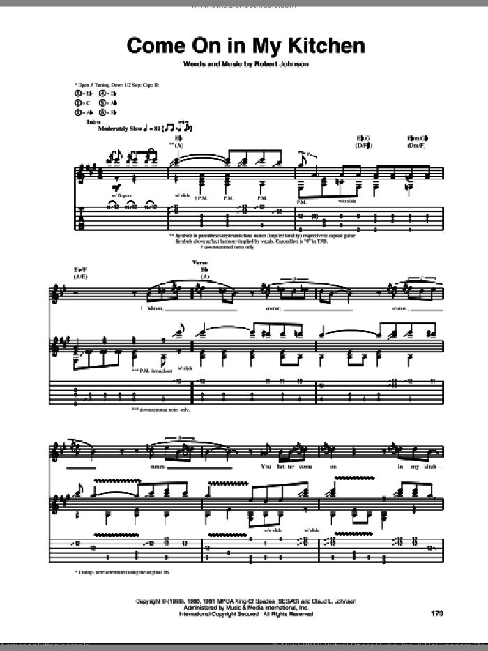 Come On In My Kitchen sheet music for guitar (tablature) by Robert Johnson