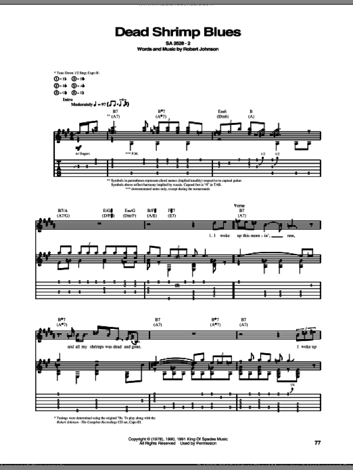 Dead Shrimp Blues sheet music for guitar (tablature) by Robert Johnson, intermediate guitar (tablature). Score Image Preview.