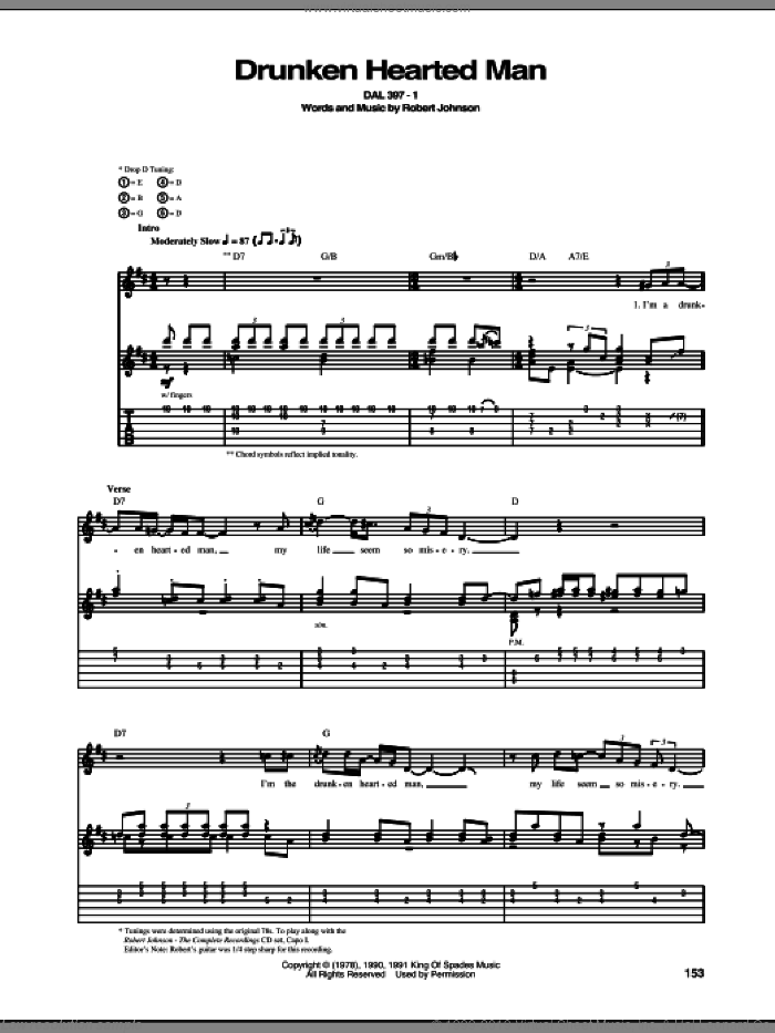 Drunken Hearted Man sheet music for guitar (tablature) by Robert Johnson. Score Image Preview.