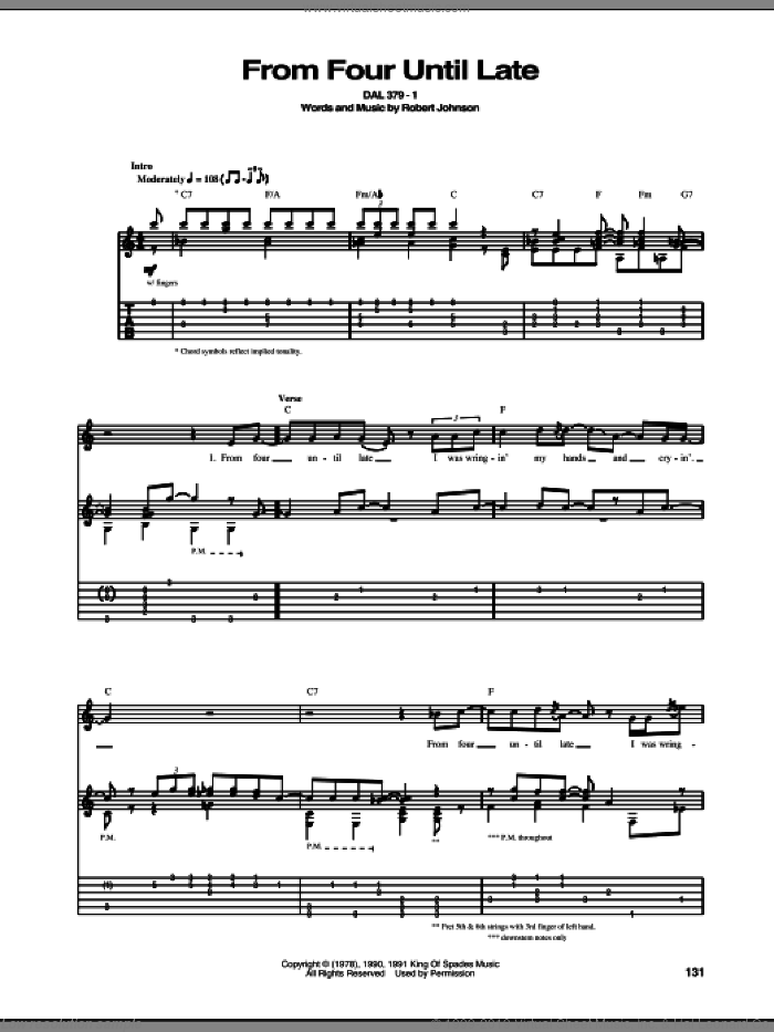From Four Until Late sheet music for guitar (tablature) by Robert Johnson