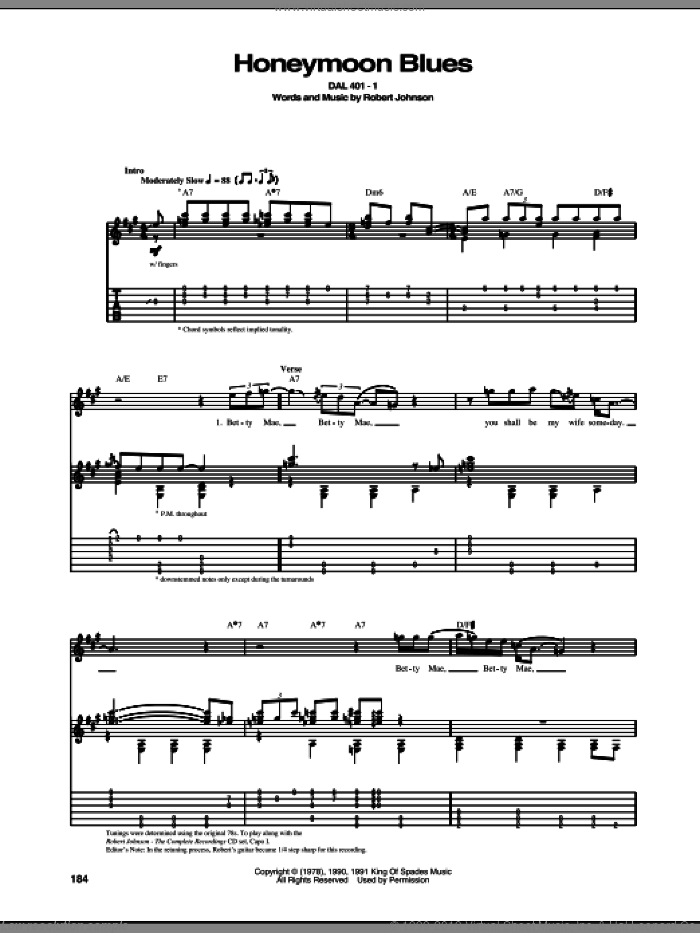 Honeymoon Blues sheet music for guitar (tablature) by Robert Johnson. Score Image Preview.