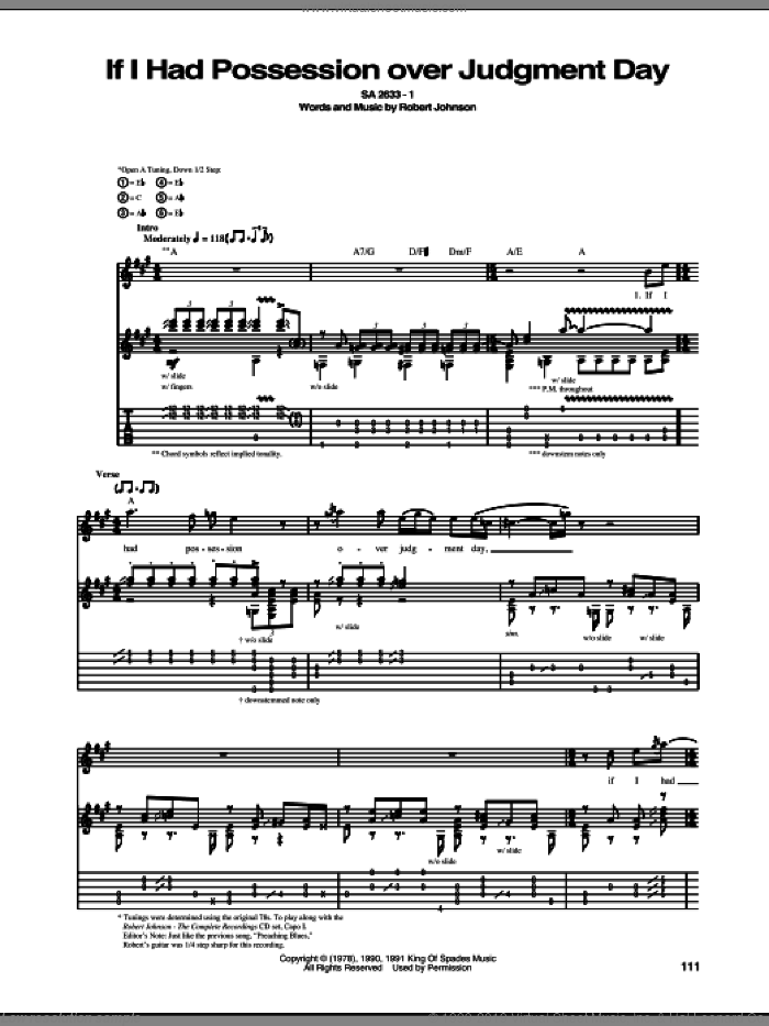 If I Had Possession Over Judgment Day sheet music for guitar (tablature) by Robert Johnson, intermediate skill level