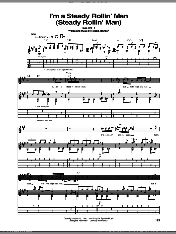 I'm A Steady Rollin' Man (Steady Rollin' Man) sheet music for guitar (tablature) by Robert Johnson. Score Image Preview.