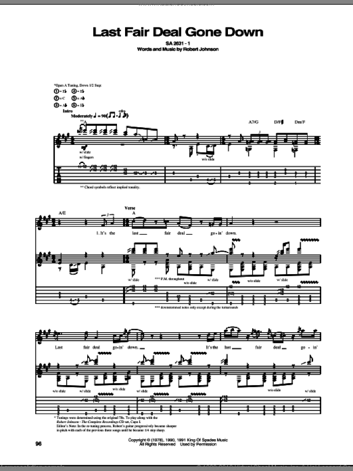 Last Fair Deal Gone Down sheet music for guitar (tablature) by Robert Johnson, intermediate