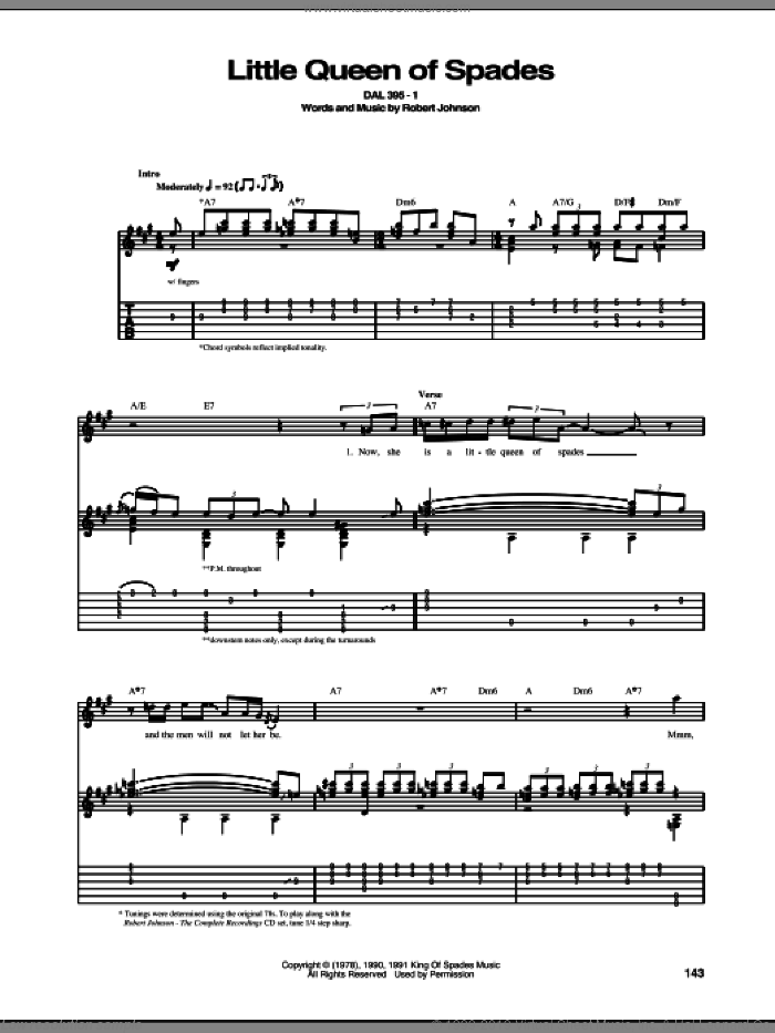Little Queen Of Spades sheet music for guitar (tablature) by Robert Johnson, intermediate skill level