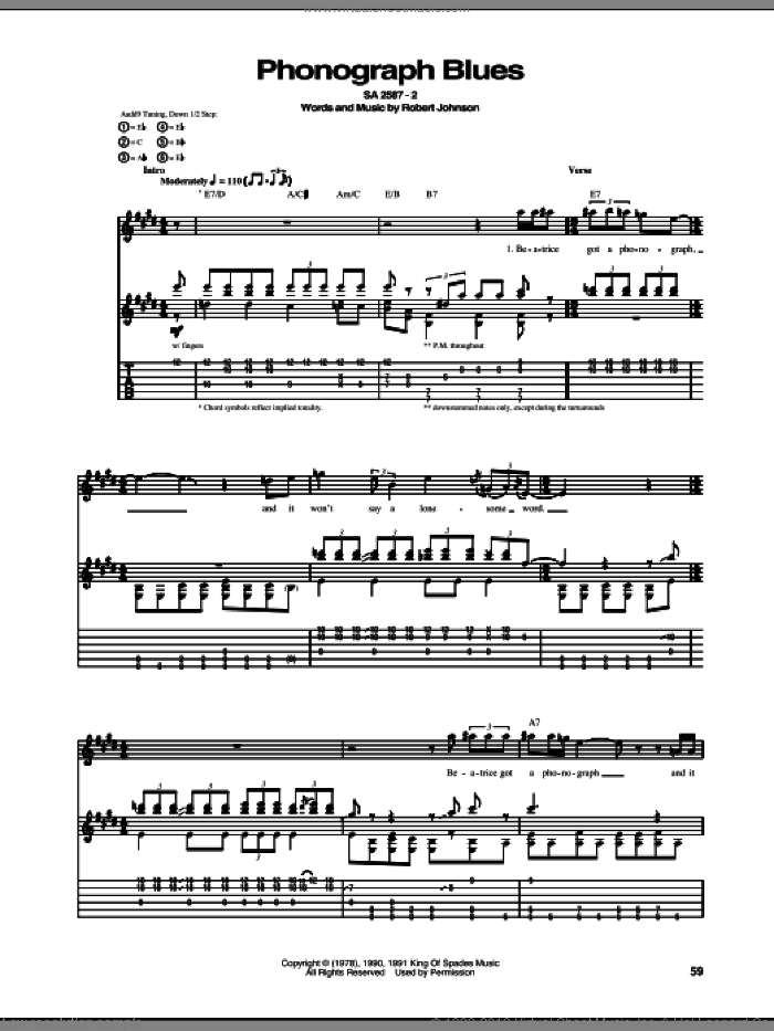 Phonograph Blues sheet music for guitar (tablature) by Robert Johnson, intermediate skill level