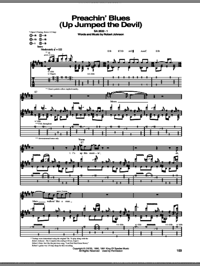Preachin' Blues (Up Jumped The Devil) sheet music for guitar (tablature) by Robert Johnson. Score Image Preview.