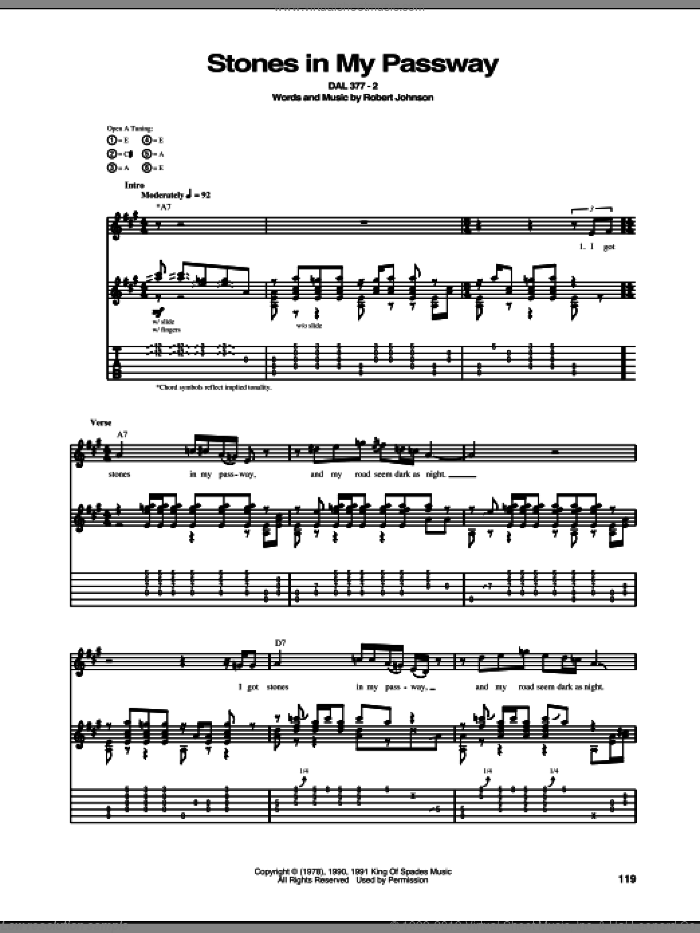 Stones In My Passway sheet music for guitar (tablature) by Robert Johnson. Score Image Preview.